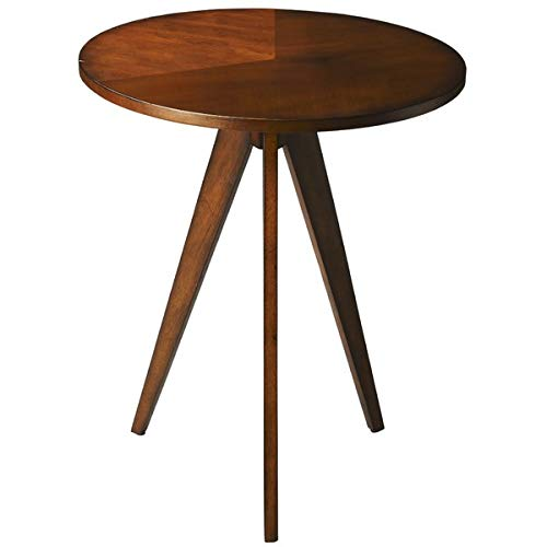 (Wood End Table with Circular Top - End Table with Tripod Base - Antique Cherry)
