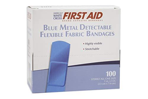 (American White Cross 99918 Blue Metal Detectable Adhesive Strips, Sterile, Lightweight Flex 1