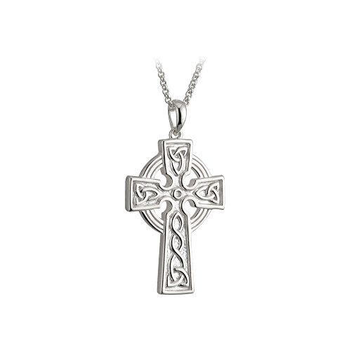 """(Solvar Men's Celtic Cross Necklace Sterling Silver 2 Sided 20"""" Chain Irish Made)"""