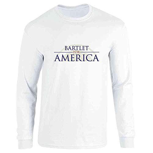 (Pop Threads Jed Bartlet for America Presidential Campaign White M Long Sleeve T-Shirt)