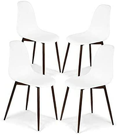 BJYX Sculpted Dining Chair, Set of 4 White