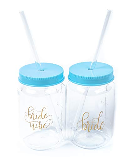 9b986b025e76 Turquoise Bride Tribe and Bride Plastic Mason Jars 10 Piece Set of 16 oz.
