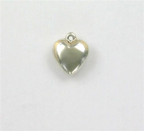(Sterling Silver Puffed Heart Charm - Jewelry Accessories Key Chain Bracelet Necklace Pendants)
