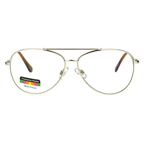 Mens Metal Rim Officer Aviator Multi 3 Power Focus Progressive Reading Glasses Gold - Sunglasses Aviator With Power