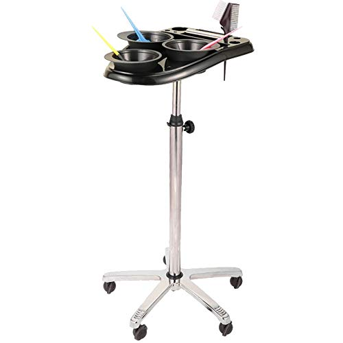 Hairdressing Salon Hair Dyeing Oyster Sauce Bracket with ABS Plastic Tray,Height Adjustable,Dyeing Tool Cart,Stroller Rack with 5 Wheels