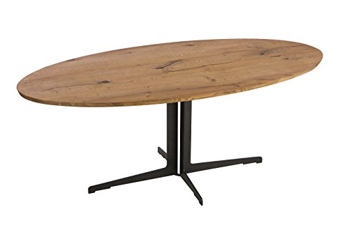 Moe's Home Collection Silva Dining Table Brown - SILVA DINING TABLE: Crafted in solid oak, this dining table has a unique ellipse shape that gives it a contemporary and classy style DIMENSIONS: 77-inches wide 39.5-inches deep x 30-inches high LIGHT OAK FINISH: The natural finish highlights the grain of the prized oak wood and contrasts nicely with the black metal base - kitchen-dining-room-furniture, kitchen-dining-room, kitchen-dining-room-tables - 319JGCvYgEL -