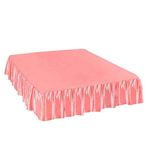 PiccoCasa Satin Silk Bed Skirt 300 Thread-Count Dust Ruffle with 14 Inch Drop - Coral Pink, Full Size: 54 x 75 Inch