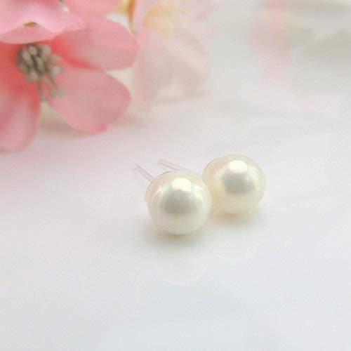 8mm Simulated Shell Pearl Earrings on Metal-Free Plastic Posts, White ()