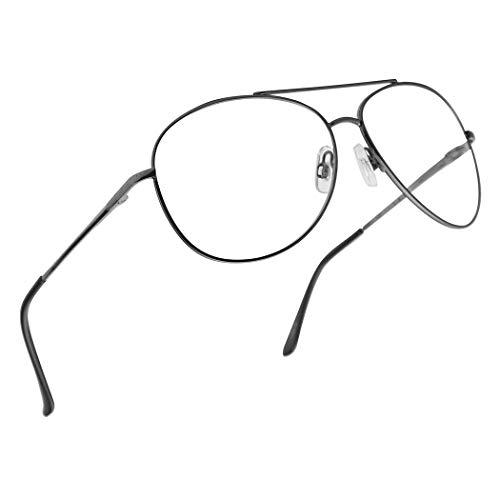 (Classic Aviator Multi Focus 3 Powers in 1 Reading Multifocal Asymptotic Eye Glasses - Durable Metal Frame (Gun Metal, 2.50))