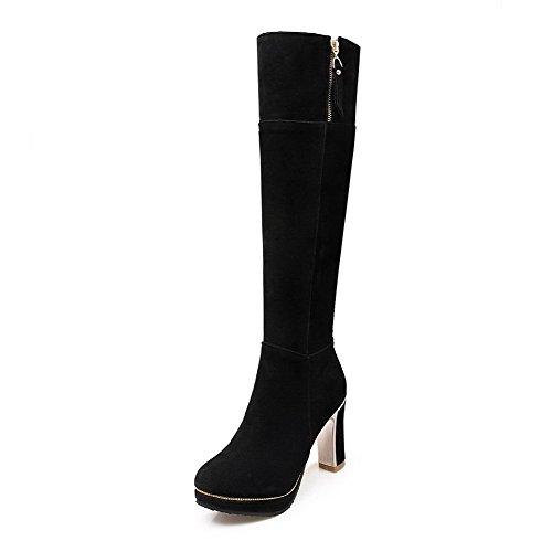 AgooLar Damen Reißverschluss Rinder Rein Stiefel mit Metallisch, Schwarz, 43