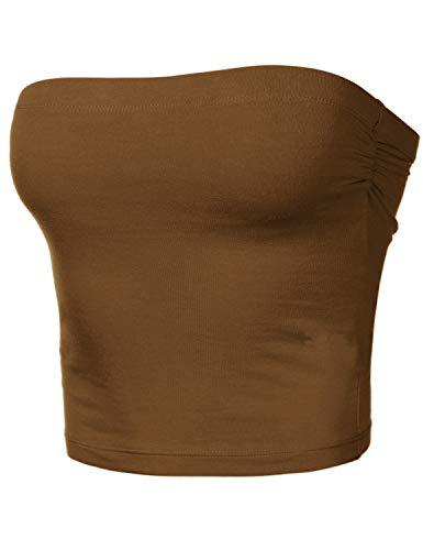 Jeans Dress Brown Summer - HATOPANTS Women's Tube Crop Shapewear Tops Strapless Cute Sexy Cotton Tops Coffee S