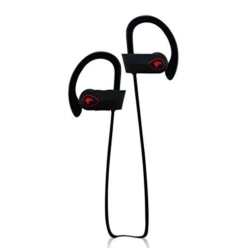 Bluetooth Headphones with Mic By Kiwi-HD, Bluetooth Earbuds - Sweat-proof, IPX7 Waterproof Headphones (Black/Red)