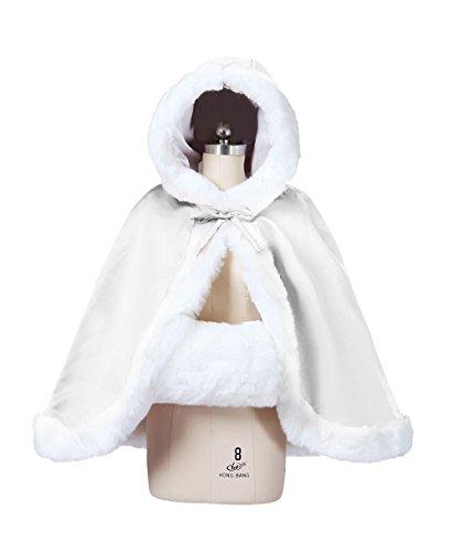 Trim Cape Hooded (Wedding Cape Hooded Cloak for Bride Winter Reversible with Fur Trim Free Hand Muff Hip-length Ivory)