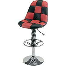 Intro Tech PitStop Pit Crew Garage Chair (Black and Red) - RACING SUSPENSION SPRING with Billet Aluminium Shift Knob for Adjusting Chair Height - Leatherette with Contrasting Stitching and CHROME PLATED STEEL BASE