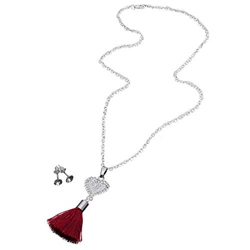 Cable Chain Ear Thread - Red Cube Women's Jewelry Set Crystal Stud Earrings Chain Rhinestone Heart Tassel Pendant