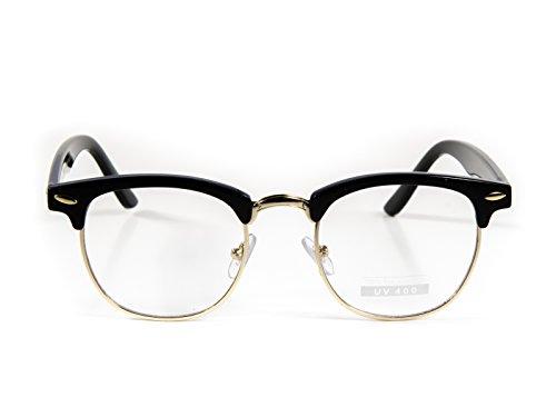 zeroUV - Vintage Inspired Classic Half Frame Horn Rimmed Clear Lens Glasses (Black-Gold)