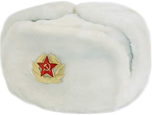 Cossack Winter Russian Hat Ushanka White Soviet Army USSR Red Star Faux Fur 56 S