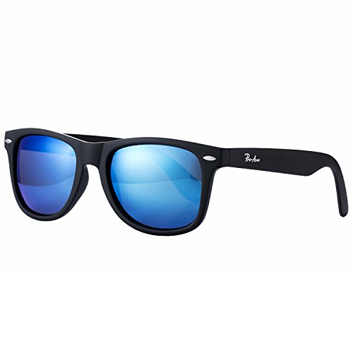 Pro Acme PA2140 Classic Polarized Wayfarer Sunglasses Unisex Square Frame (Blue Mirrored Lens/Matte Black - Mirrored Wayfarer