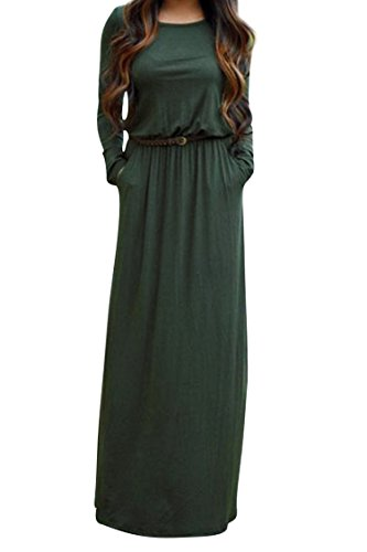 Women's Solid Color Crewneck Long Sleeve Casual Belted Maxi Dress with Pockets US-14 Green