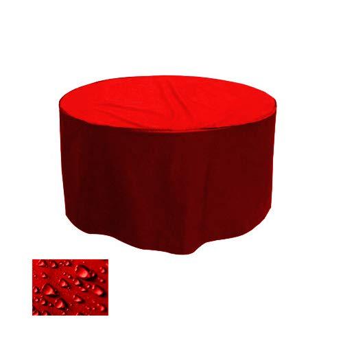 Holi Europe Premium Gartentisch Abdeckung Gartenmöbel Schutzhülle RUND ø 175cm x H 80cm Rot