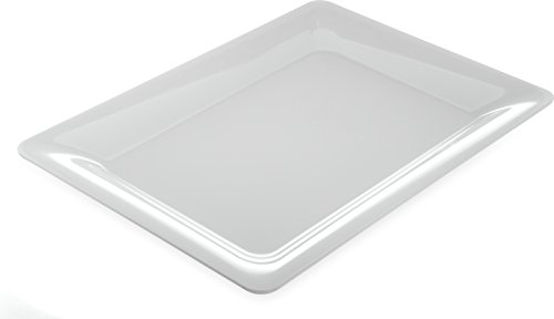 Carlisle 4441602 Designer Displayware Melamine Wide Rim Rectangle Platter, 17