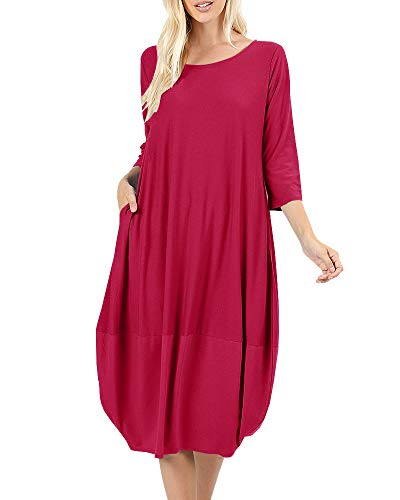 (NiuBia Womens Bubble Hem Dresses 3/4 Sleeve Scoop Neck Knee Length Stitching Casual Dress with Pockets Red)