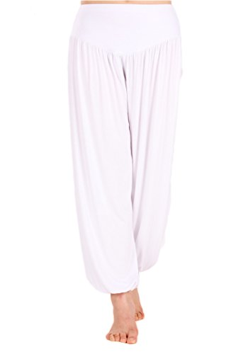 AvaCostume Womens Modal Cotton Soft Yoga Sports Dance Harem Pants, M, White -
