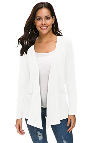 TownCat Women's Loose Casual Long Sleeved Open Front Comfy Cardigans with Pocket (XL, White)