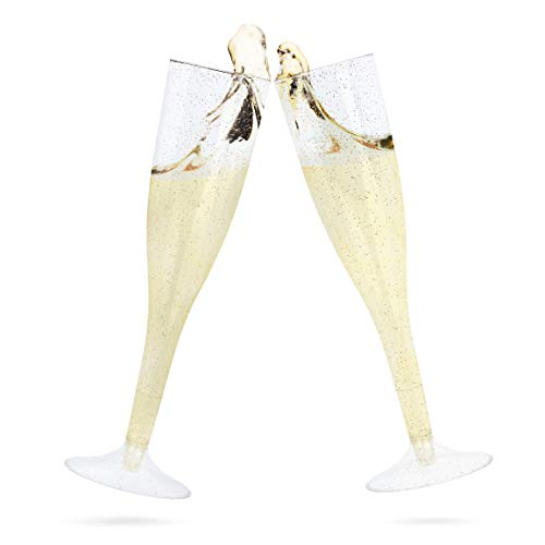25 Premium Champagne Flutes ~ 7 Oz | Plastic Disposable Wine Glasses | Wedding Cocktail Party Cups | Champagne, Bloody Mary, Mimosa, Wine -