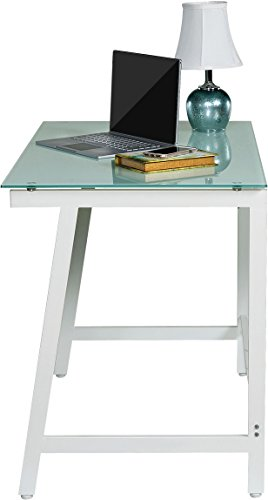 OneSpace Contemporary Glass Writing Desk, Steel Frame, White and Cool Blue - Modern and contemporary fusion design both matches and enhances any décor Makes the best use of small spaces with the working efficiency of much larger desks Ample working surface constructed of durable frosted tempered safety glass - writing-desks, living-room-furniture, living-room - 319JUrMantL -