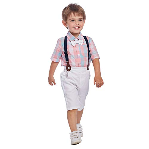 Simplee Kids Baby Boys Shorts Sets Bow Ties Plaid Pink Shirts + Suspenders Shorts White Baby Boy Gentleman Outfits (Pink 3T-4T) -