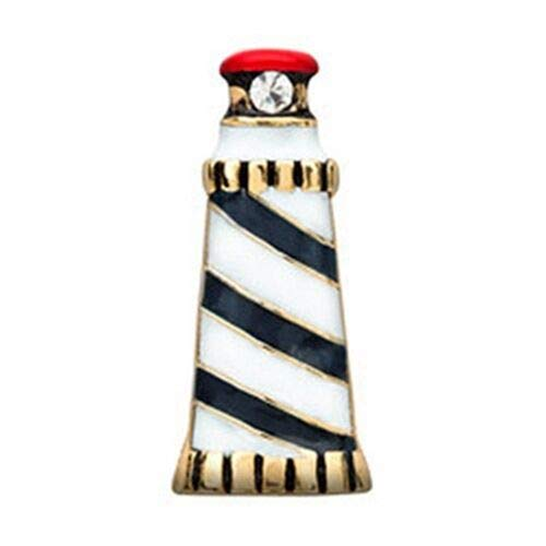 Pendant Jewelry Making Lighthouse Blue Striped w/Rhinestone Gold Floating Charm for Memory Lockets 1pc