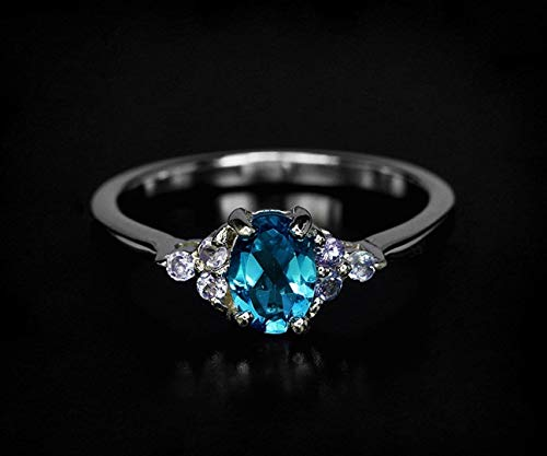 - London Blue topaz ring in 925 Sterling silver or 14K white gold with Tanzanite gemstones as accents Mother's day gift