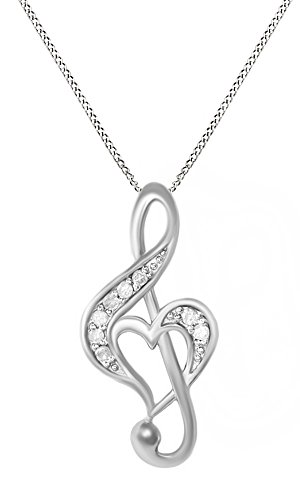 Jewel Zone US White Natural Diamond Music Note Heart Pendant Necklace in 14k White Gold Over Sterling Silver (0.1 Ct)