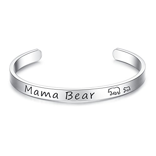 Vlinsha Mama Bear Jewelry, Personalized Hand Stamped Stainless Steel Cuff Bracelet with Momma Baby Bears Cubs Gifts for Mom Mother Women Wife Family (Cuff 1 cub) ()
