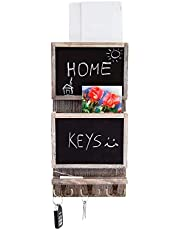 Rustic 2-Slot Mail Sorter Organizer for Wall with Chalkboard Surface & 3 Double Key Hooks - Wooden Wall Mount Mail Holder Organizer – Wall Décor for Entryway Made of Paulownia Wood