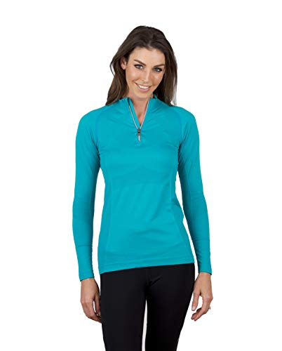 (Anique Women's Signature UPF 30+ UV Protection Quarter Zip Long Sleeve Shirt with Smart Yarn Cooling Technology (Peacock Blue, Small))