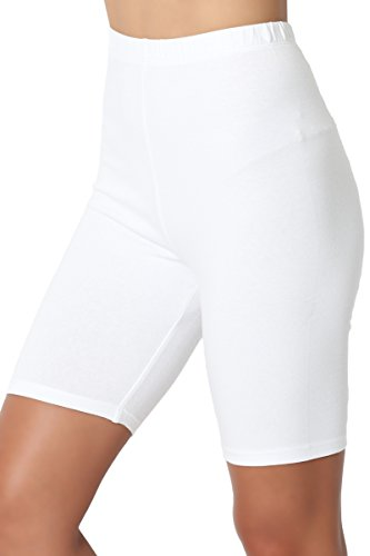 - TheMogan Women's Mid Thigh Cotton High Waist Active Short Leggings White XL