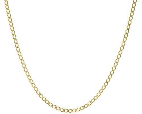 Revoni Bague en or jaune 9carats-13,5g-Collier Femme-Maille Gourmette, longueur 76cm/76,2cm, 4.4mm Largeur