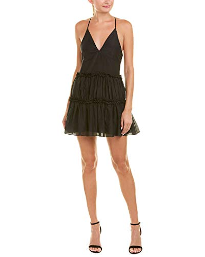 (Cami NYC Womens Ruffle Silk-Blend Cocktail Dress, L, Black)