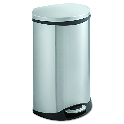 (Safco Products 9903SS Ellipse Step-On Trash Can, 12 1/2-Gallon, Stainless Steel)