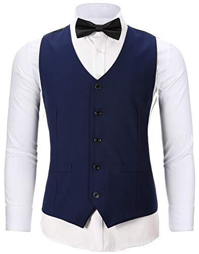 WANNEW Mens Tuxedo Vest Slim Fit Suit Vest with Bow Tie Sets (Small, N66 Navy)