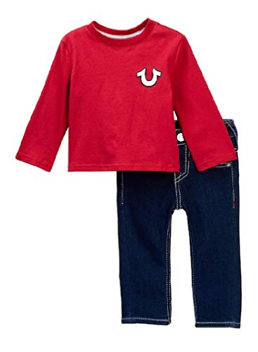 oys Long Sleeve Buddha Tee & Jeans Set, Red (2T) ()