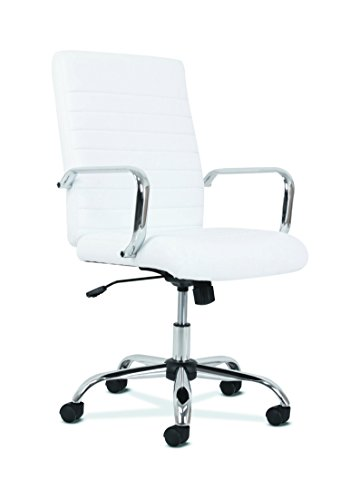Sadie Executive Computer Chair- Fixed Arm for Office Desk, White Leather with Chrome Accents