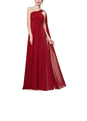 Floor line Length s Burgundy Evening A Women Ruffle Dress Shoulder Gown One Prom Sleeveless Long Beauty AK x8qIpwfSW