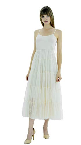 [Shop Lev] Women's Slip Dress with Tiered Mesh Skirt and Adjustable Straps (X-Large, Long-Ivory)