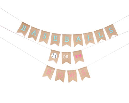 Baseball Decoration Ideas (Baby Gender Reveal Party Supplies - Burlap Banner for Gender Reveal,Perfect Gender Reveal Ideas Theme, Boy or Girl Banner for Party Decorations, Unique Baby Shower)