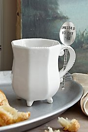 Mud Pie 4351002D Tea Mug Set with Spoon Dressed To The Tea, White (Mud Pie Tea Cup compare prices)