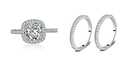 3 Pieces Stackable Bridal Ring Set Accented Halo Engagement Ring 2 Half Eternity Wedding Band Size 5-10 (Silver, 8)