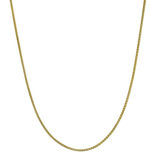 18K Gold Flashed Sterling Silver 1.6mm Italian Popcorn Chain Necklace - ()
